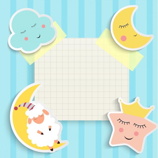 Sfondo di buona notte bambino con nuvola, stelle e luna. posto per il testo. illustrazione Vettore Premium