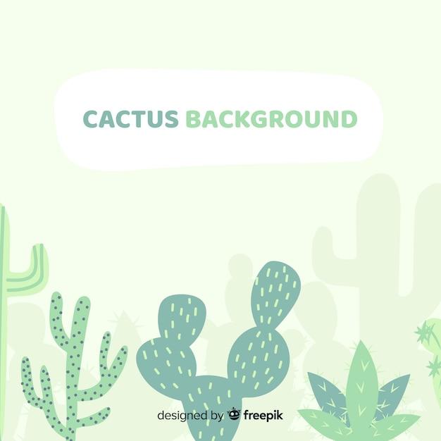 Sfondo di cactus disegnato a mano Vettore gratuito