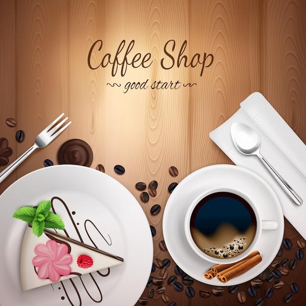Sfondo di caffetteria superiore Vettore gratuito