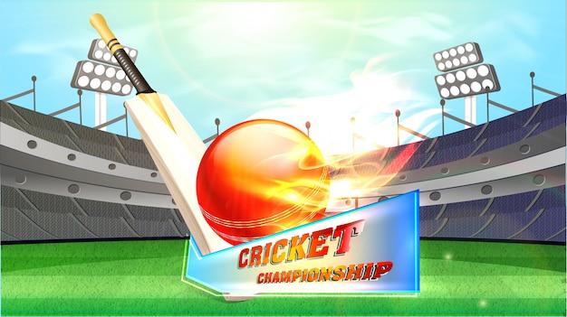 Sfondo di campionato di cricket. Vettore Premium
