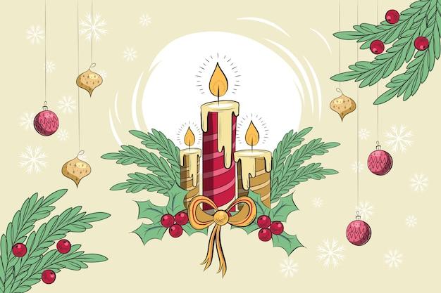 Sfondo di candele di natale vintage Vettore gratuito