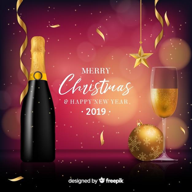 Sfondo di capodanno champagne realistico Vettore gratuito