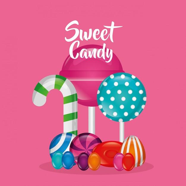 Sfondo di caramelle dolci Vettore gratuito