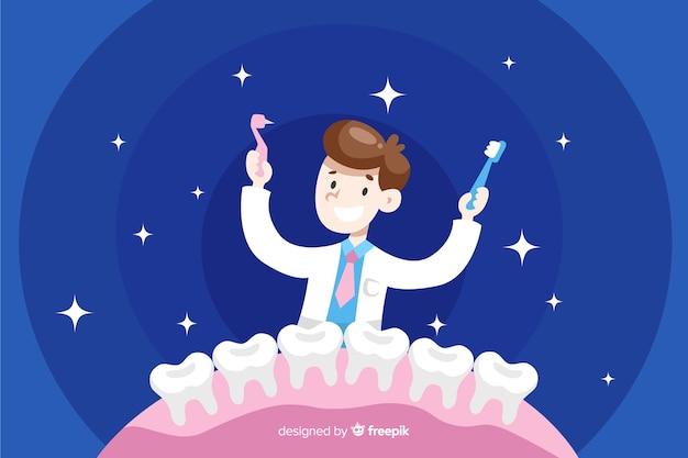 Sfondo di caratteri dentista Vettore gratuito
