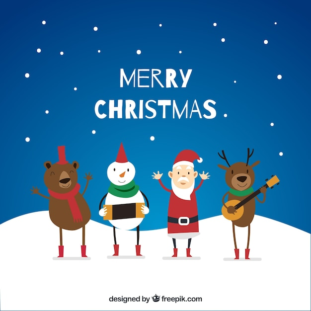 Immagini Di Natale Divertenti Gratis.Sfondo Di Caratteri Di Natale Divertenti Che Giocano La