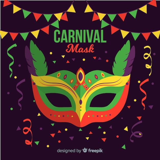 Sfondo di carnevale brasiliano maschera piatta Vettore gratuito