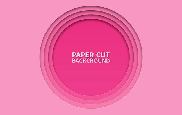 Sfondo di carta tagliata di cerchio. strati ondulati rosa Vettore Premium