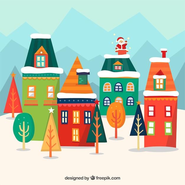 Sfondo di case geometriche colorate con babbo natale - Scene di natale a colori ...