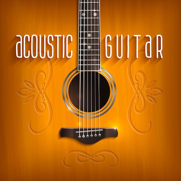 Sfondo di chitarra acustica Vettore gratuito
