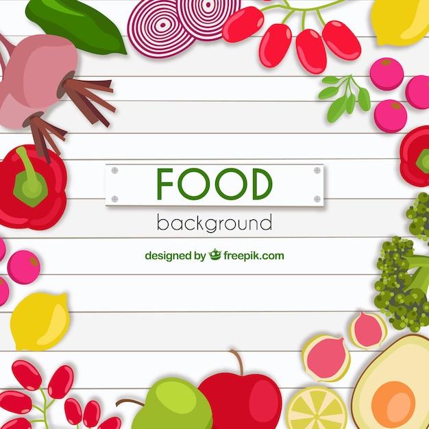 Sfondo di cibo con design piatto Vettore gratuito