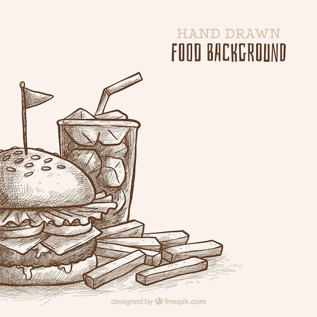 Sfondo di cibo con stile disegnato a mano Vettore gratuito