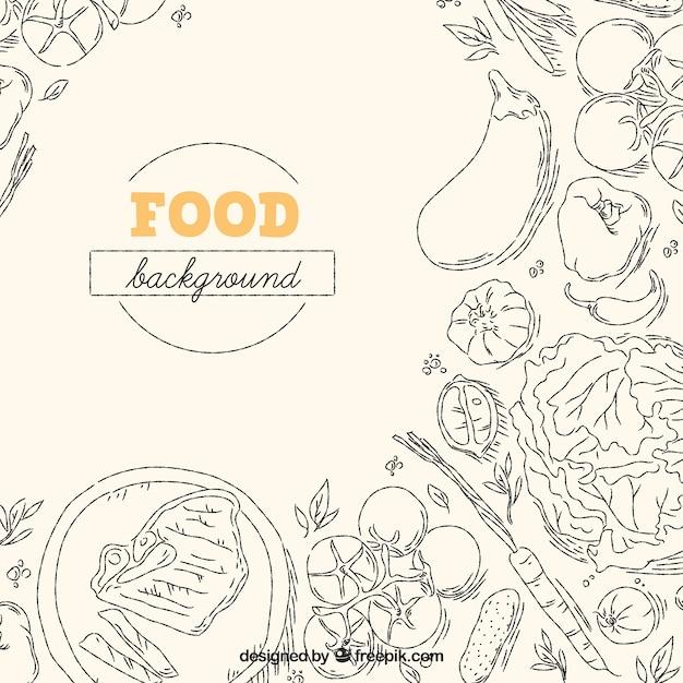 Sfondo di cibo delizioso con stile disegnato a mano Vettore gratuito