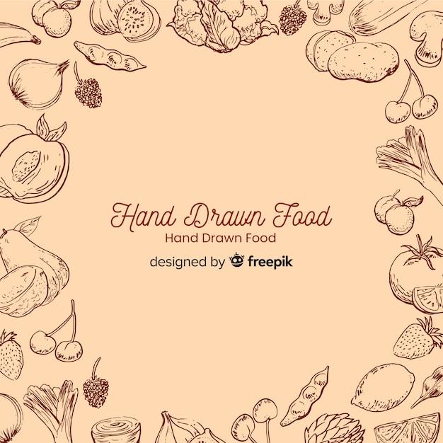 Sfondo di cibo disegnato a mano Vettore gratuito