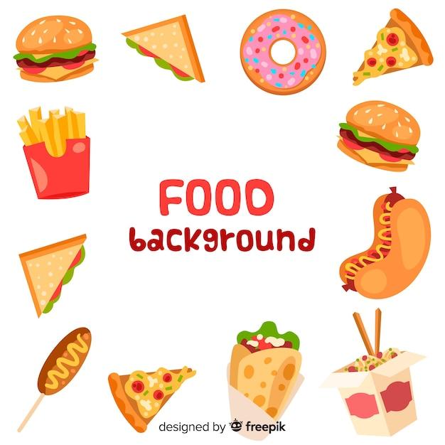 Sfondo di cibo piatto Vettore gratuito