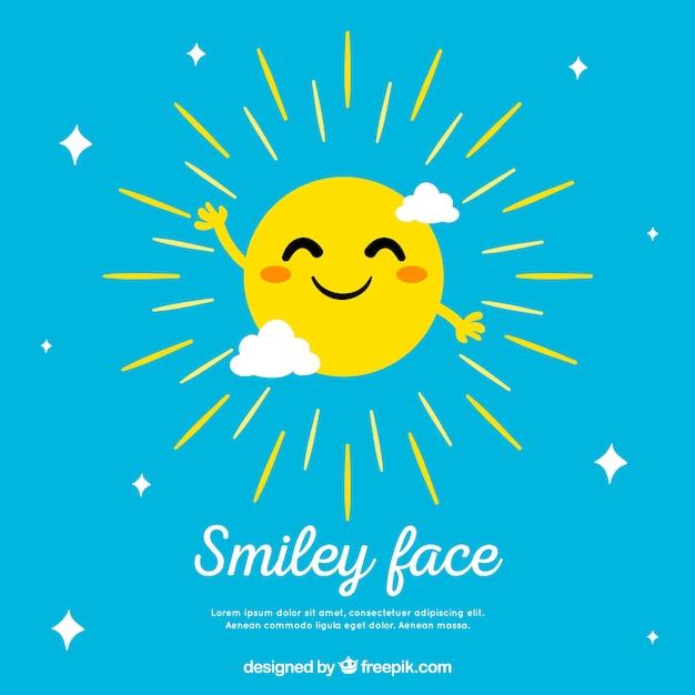 Sfondo di cielo con il sole sorridente Vettore gratuito