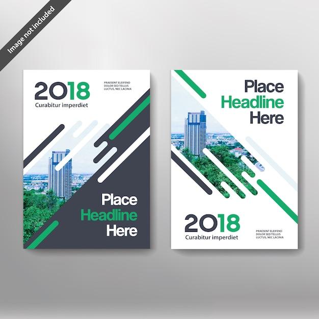 Sfondo di città Business Book Cover Design Template Vettore Premium