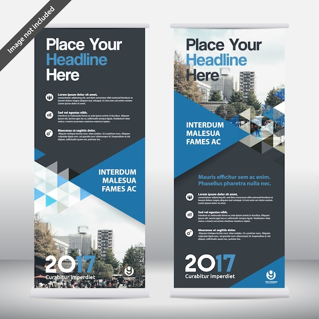 Sfondo di città Business Roll Up Design Template.Flag Banner Vettore Premium