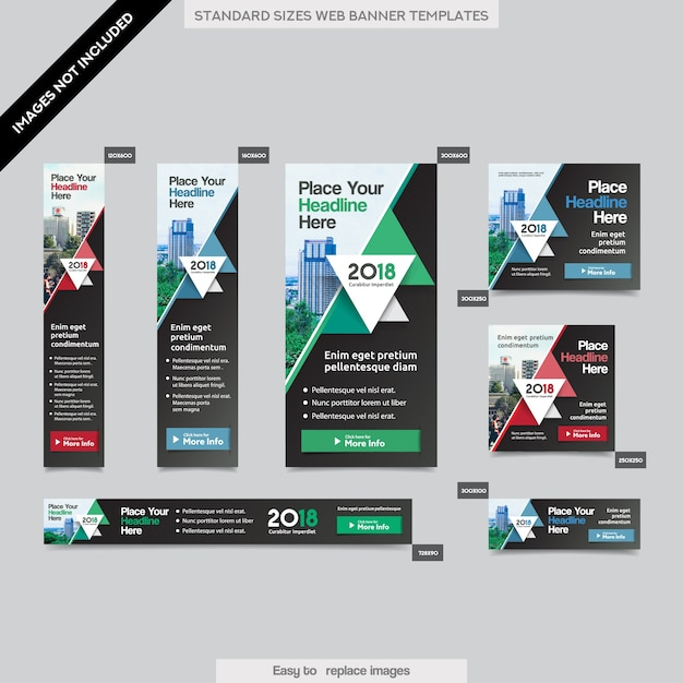 Sfondo di città Modello aziendale di banner aziendali in dimensioni multiple. Facile da adattarsi a brochure, rapporti annuali, riviste, poster, supporti pubblicitari aziendali, flyer, sito web. Vettore Premium