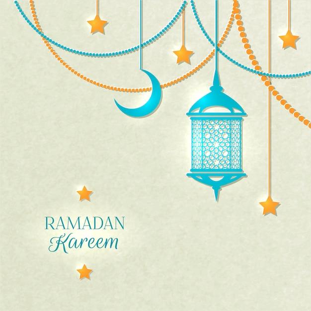 Sfondo di colore chiaro del ramadan Vettore gratuito