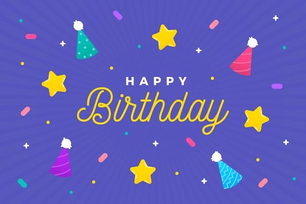 Sfondo di compleanno con coni e stelle Vettore gratuito