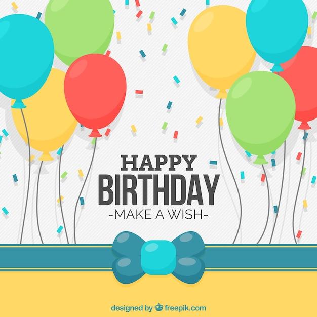 Sfondo di compleanno con palloncini e confetti Vettore gratuito