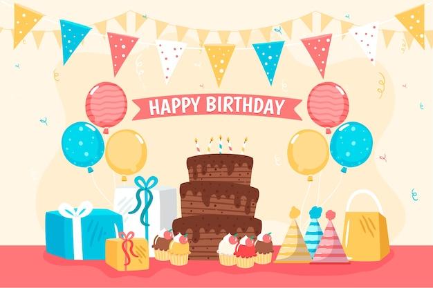 Sfondo di compleanno design piatto Vettore gratuito