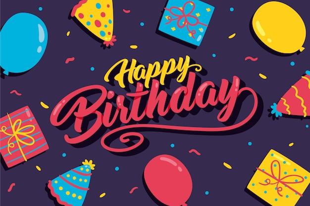 Sfondo di compleanno disegnati a mano con palloncini e regali Vettore gratuito
