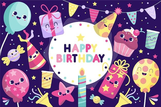 Sfondo di compleanno disegnati a mano Vettore gratuito