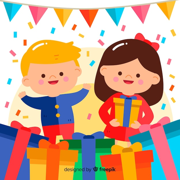 Sfondo di compleanno per bambini piatti Vettore gratuito