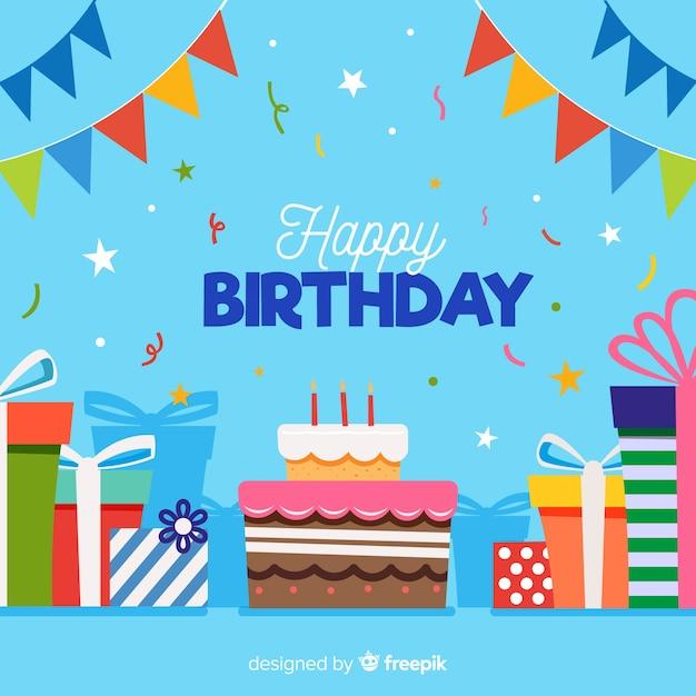 Sfondo di compleanno piatto Vettore gratuito