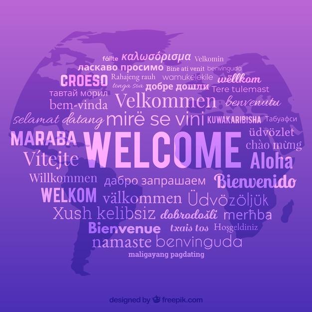 Sfondo di composizione di benvenuto con lingue diverse Vettore gratuito