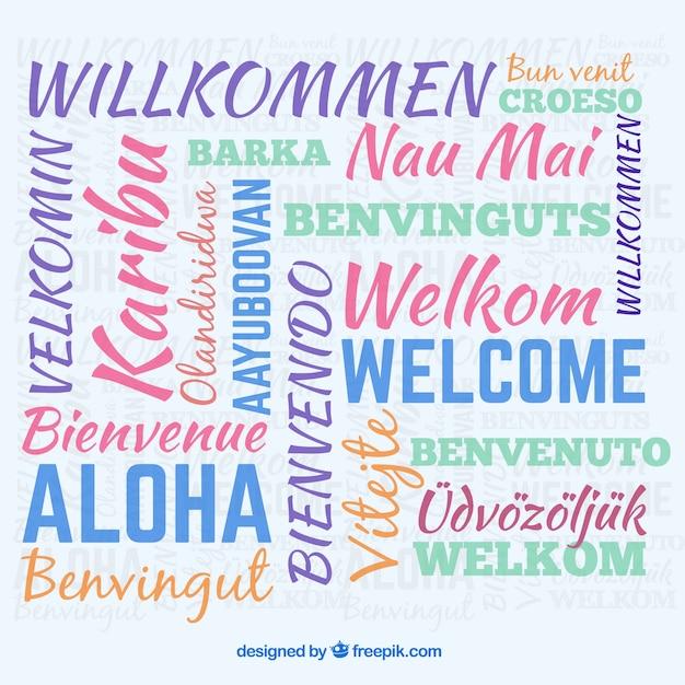 Sfondo di composizione di benvenuto in diverse lingue Vettore gratuito
