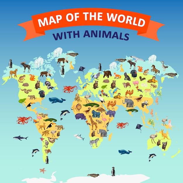 Sfondo di concetto animale mappa mondo. illustrazione del fumetto del fondo di concetto di vettore animale della mappa di mondo Vettore Premium