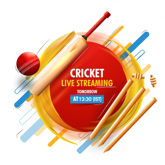 Sfondo di concetto di cricket. Vettore Premium
