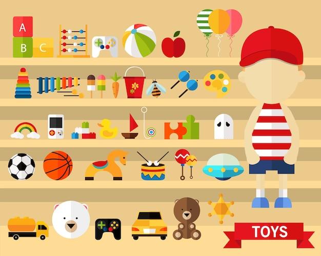 Sfondo di concetto di giocattoli. icone piatte. Vettore Premium