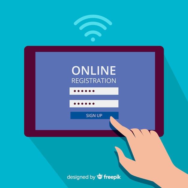 Sfondo di concetto di registrazione online Vettore gratuito