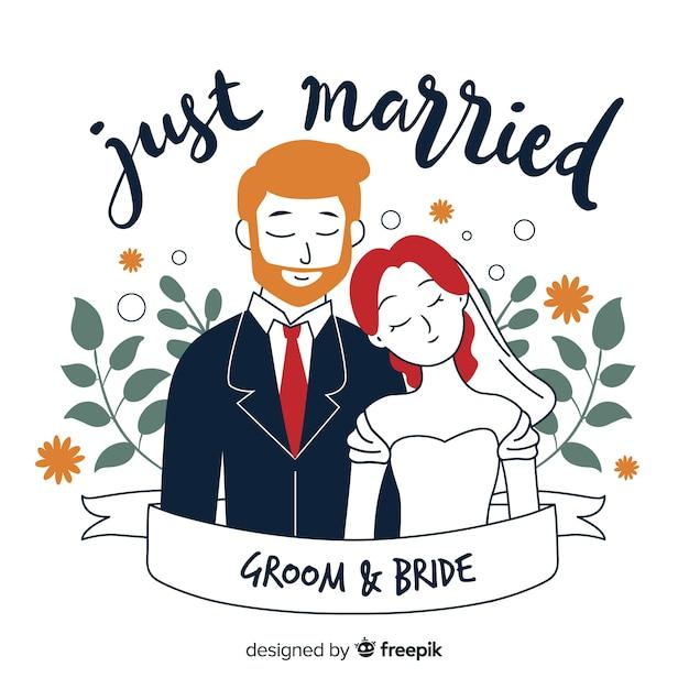 Sfondo di coppia matrimonio disegnato a mano Vettore gratuito