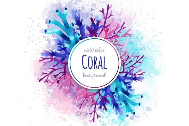Sfondo di corallo acquerello Vettore gratuito