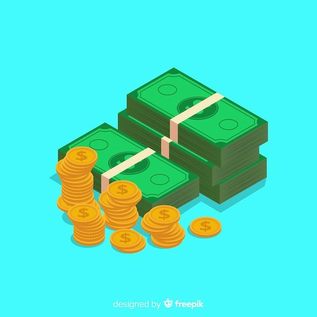 Sfondo di denaro isometrica Vettore gratuito