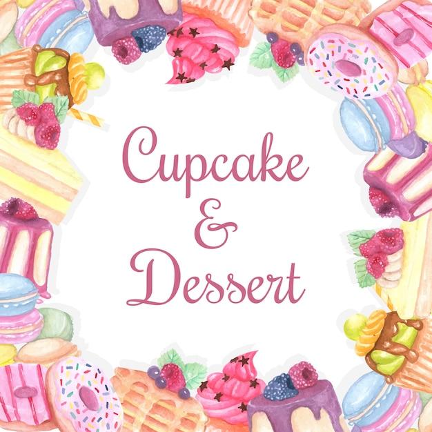 Sfondo di dessert dolce Vettore Premium