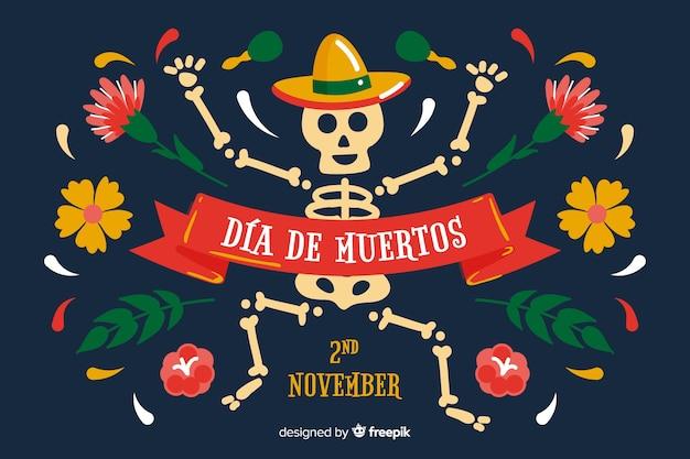 Sfondo di día de muertos disegnato a mano con scheletro Vettore gratuito