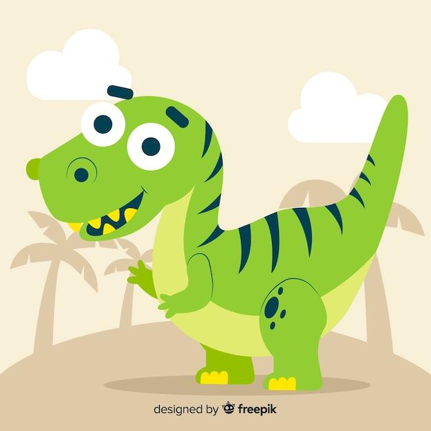 Sfondo di dinosauro t-rex piatta Vettore gratuito