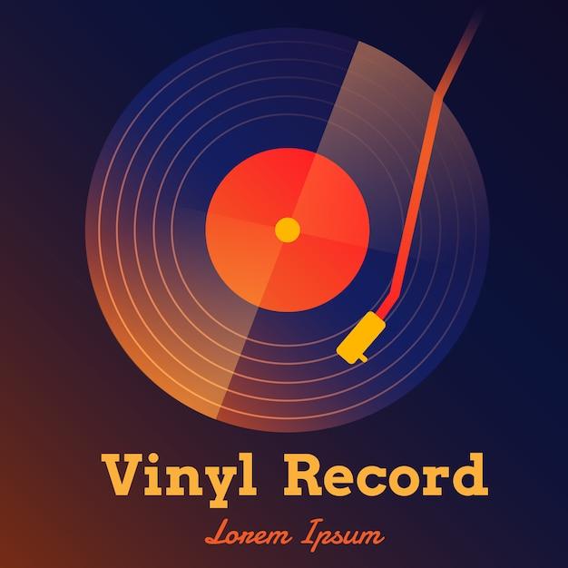 Sfondo di dischi in vinile Vettore Premium