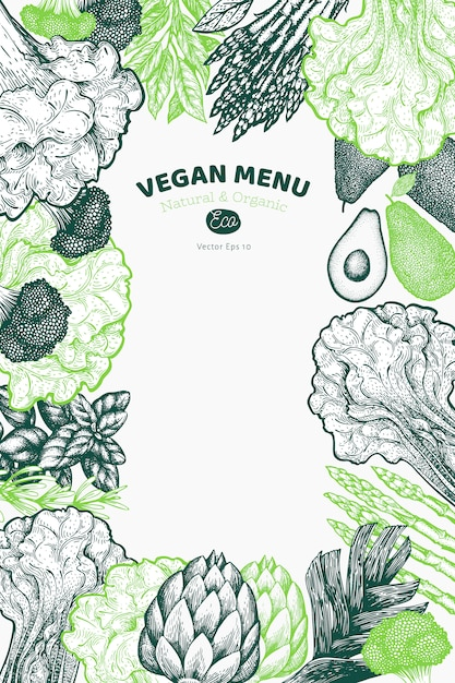 Sfondo di disegno vegetale verde. illustrazione di cibo di vettore disegnato a mano. ortaggio di stile inciso Vettore Premium