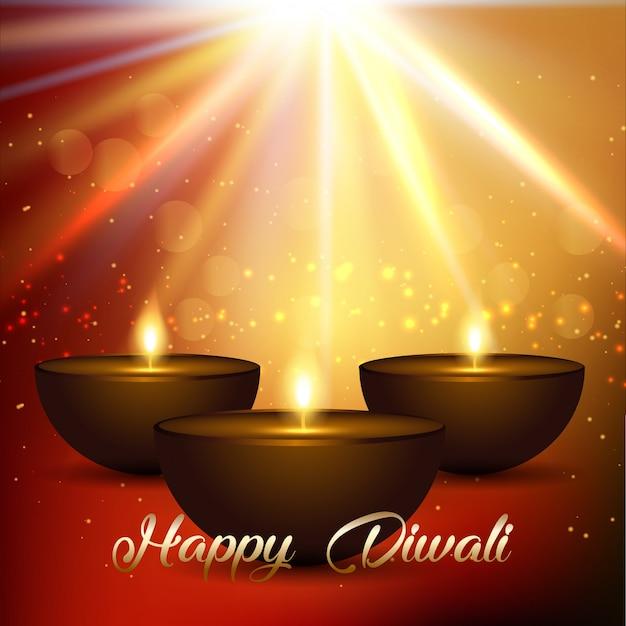 Sfondo di diwali con luci e lampade bokeh Vettore gratuito