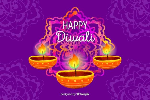 Sfondo di diwali dell'acquerello Vettore gratuito