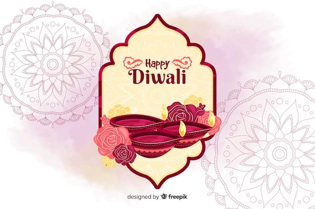 Sfondo di diwali disegnato a mano Vettore gratuito