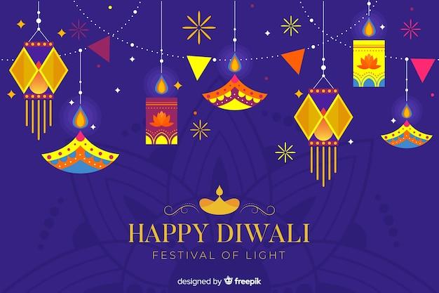 Sfondo di diwali piatto a sospensione Vettore gratuito