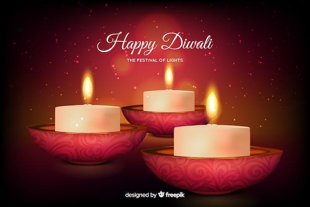 Sfondo di diwali realistico Vettore gratuito