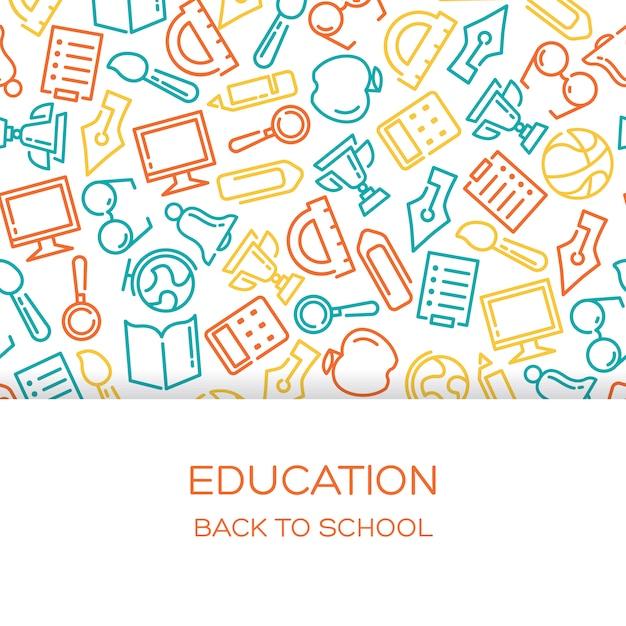 Sfondo di educazione con icone foderate Vettore gratuito